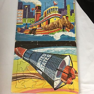 Lot Of 2 Vintage Sifo Cardboard Tray Puzzle Atomic Space Capsule Boat