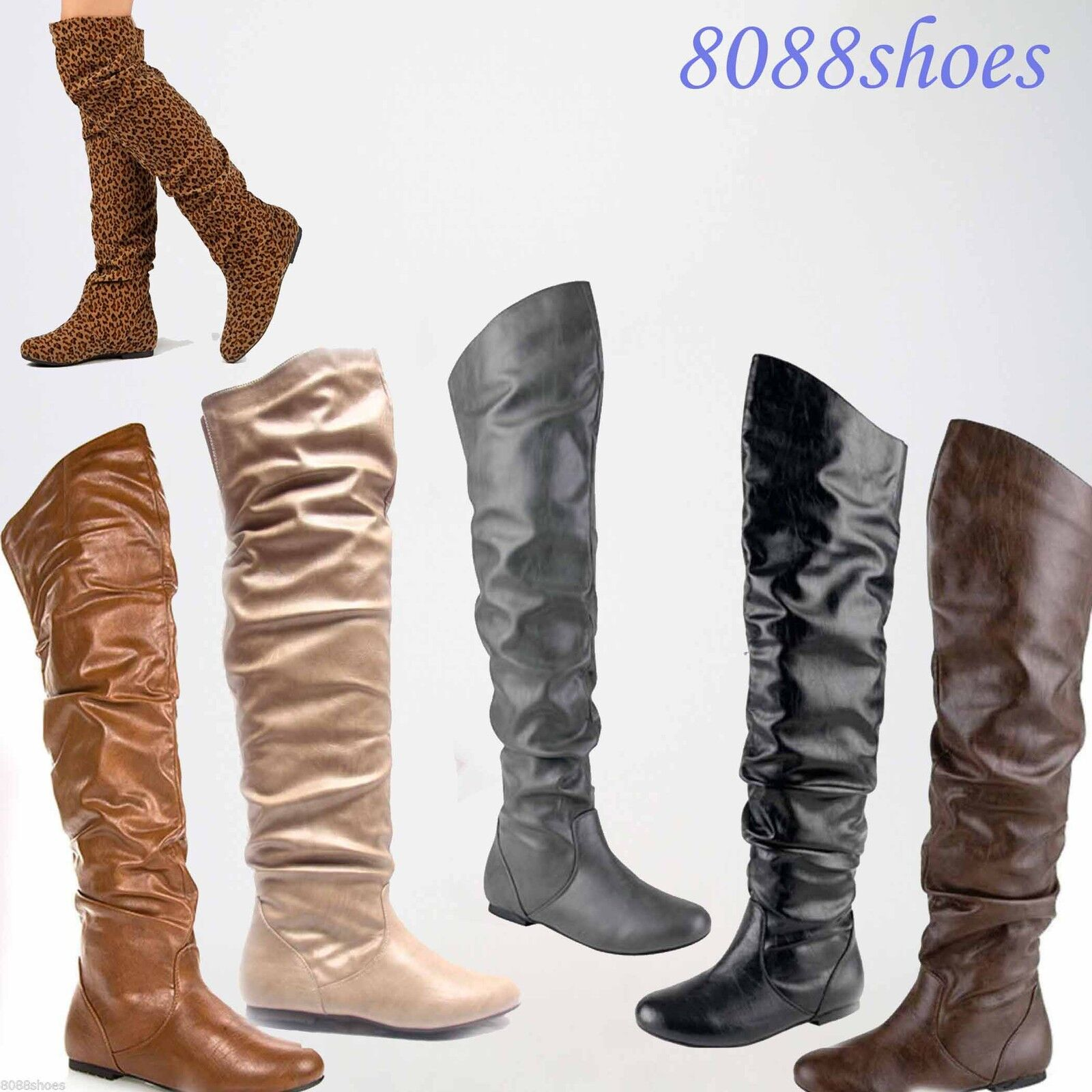 Women's Comfort  Round Toe Flat Low Heel Slouchy Thigh High Boot Shoes 5 - 11