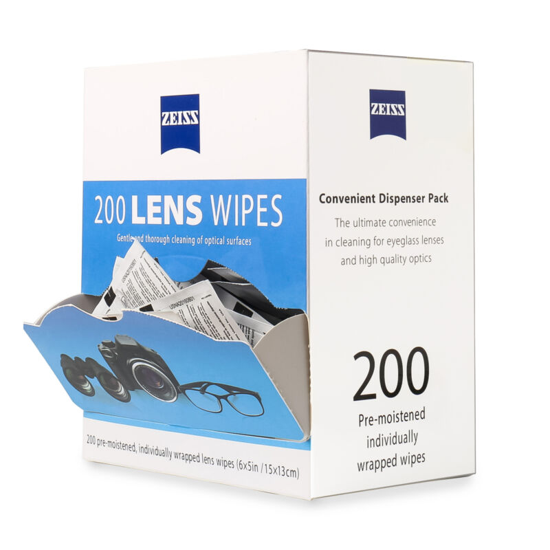 ZEISS Lens Cleaning Wipes 200 Pre-Moistened Eye Glasses Screen Cleaning Wipes