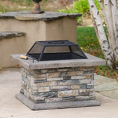 Outdoor Patio Furniture Aged Natural Stone Finish Fire Pit