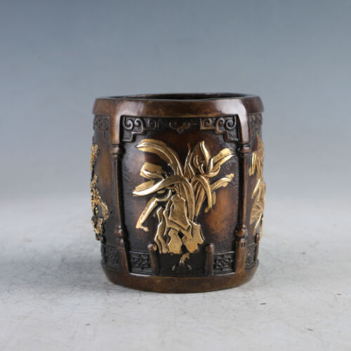 Chinese Exquisite Gilt Copper Meilan bamboo chrysanthemum Brush pot