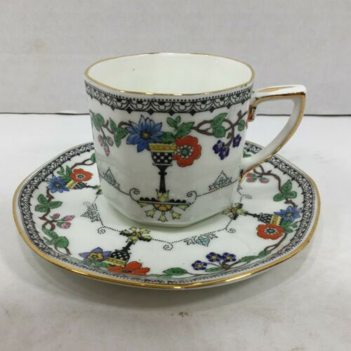 Vintage Adderley Bone China Demitasse Teacup and Saucer Lincoln Pattern