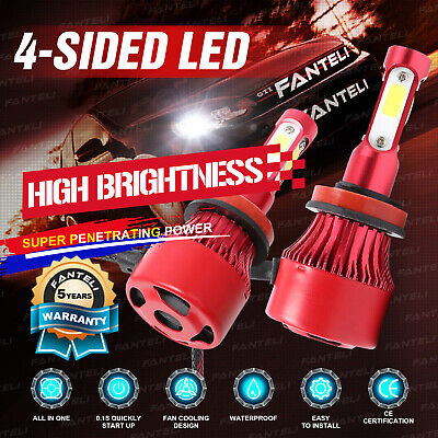 2x H11 H9 H8 6000K 4-Side LED Headlight 2215W 332250LM Low Beam Bulb Power 2018