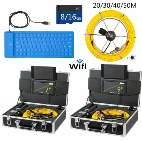 """20/30/40/50m Pipe Inspection Camera 7""""/9"""" Screen Pipeline Cable Wifi/Keyboard US"""