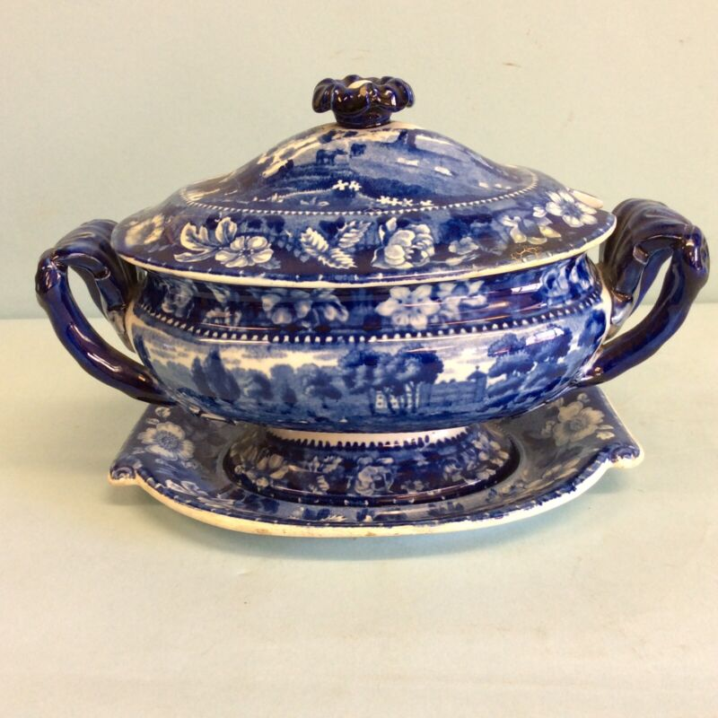 """Staffordshire Tureen with Cover and Underliner  9"""" L"""