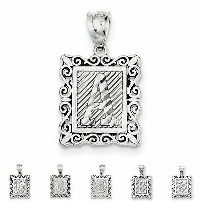 925 Sterling Silver Polished & Diamond-cut Initial Letter A - Z Charm Pendant Diamond Cut Initial Letter