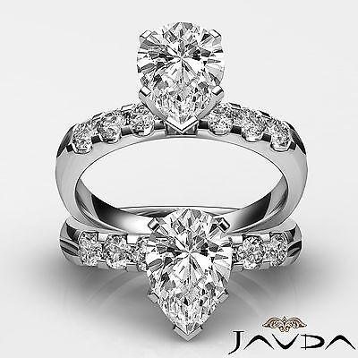 6 Stone Prong Set Pear Cut Diamond Engagement Ring GIA H SI1 Platinum 1.31 ct