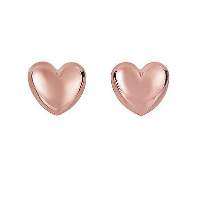 Fancy Puffed Heart - 14k Rose Gold Shiny Puffed Heart Fancy Post Earrings