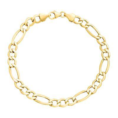 Mens Gold Figaro Bracelet - Eternity Gold Men's Figaro Link Chain Bracelet in 14K Gold