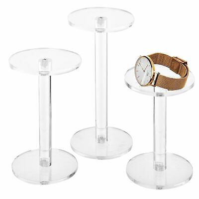 Mygift Set Of 3 Clear Round Acrylic Pedestal Display Risers Stand