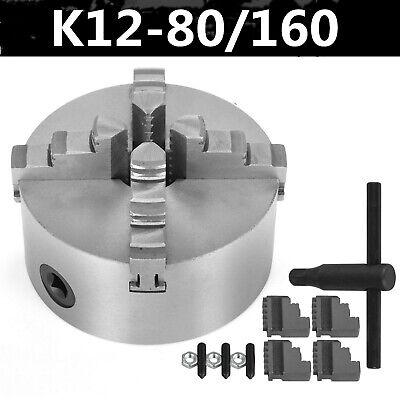 80-160mm 4 Jaw Metal Lathe Chuck Hard Jaw Self-centering Key Handle