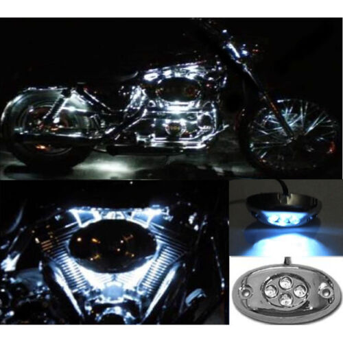 1 Pc White LED Chrome Modules Motorcycle Chopper Frame Neon Glow Lights Pods Kit