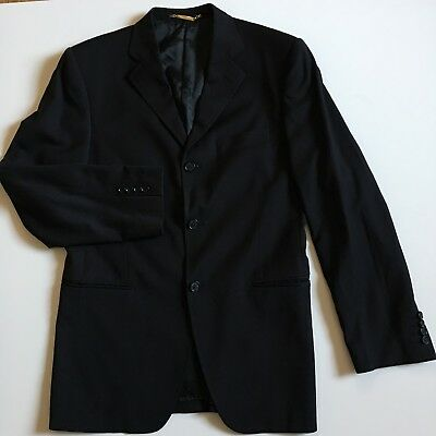 Dolce & Gabbana Three Button Suit - Dolce & Gabbana Mens 40 R Black Stripe Pattern Three Button Blazer Suit Jacket