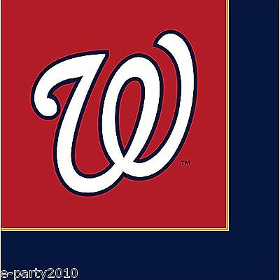 MLB WASHINGTON NATIONALS LUNCH NAPKINS (24) ~ Sports Birthday Party Supplies