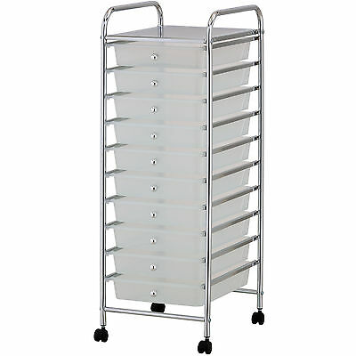 VonHaus 10 Drawer Mobile Storage Trolley for Home Office or Beauty Salon White