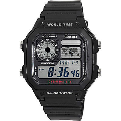 Casio AE1200WH-1AV, World Time Watch, Chronograph, 5 Alarms, 10 Year Battery
