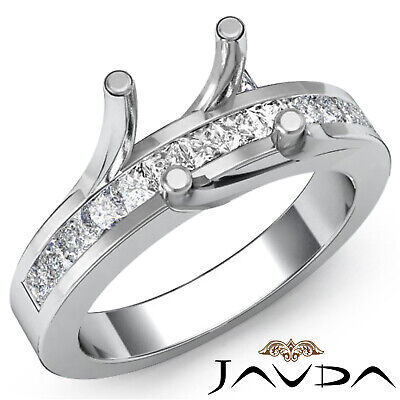 0.50 Ct Princess Diamond Engagement Ring Channel Set Bridge Accent Semi Mount Channel Set Semi Mount Ring