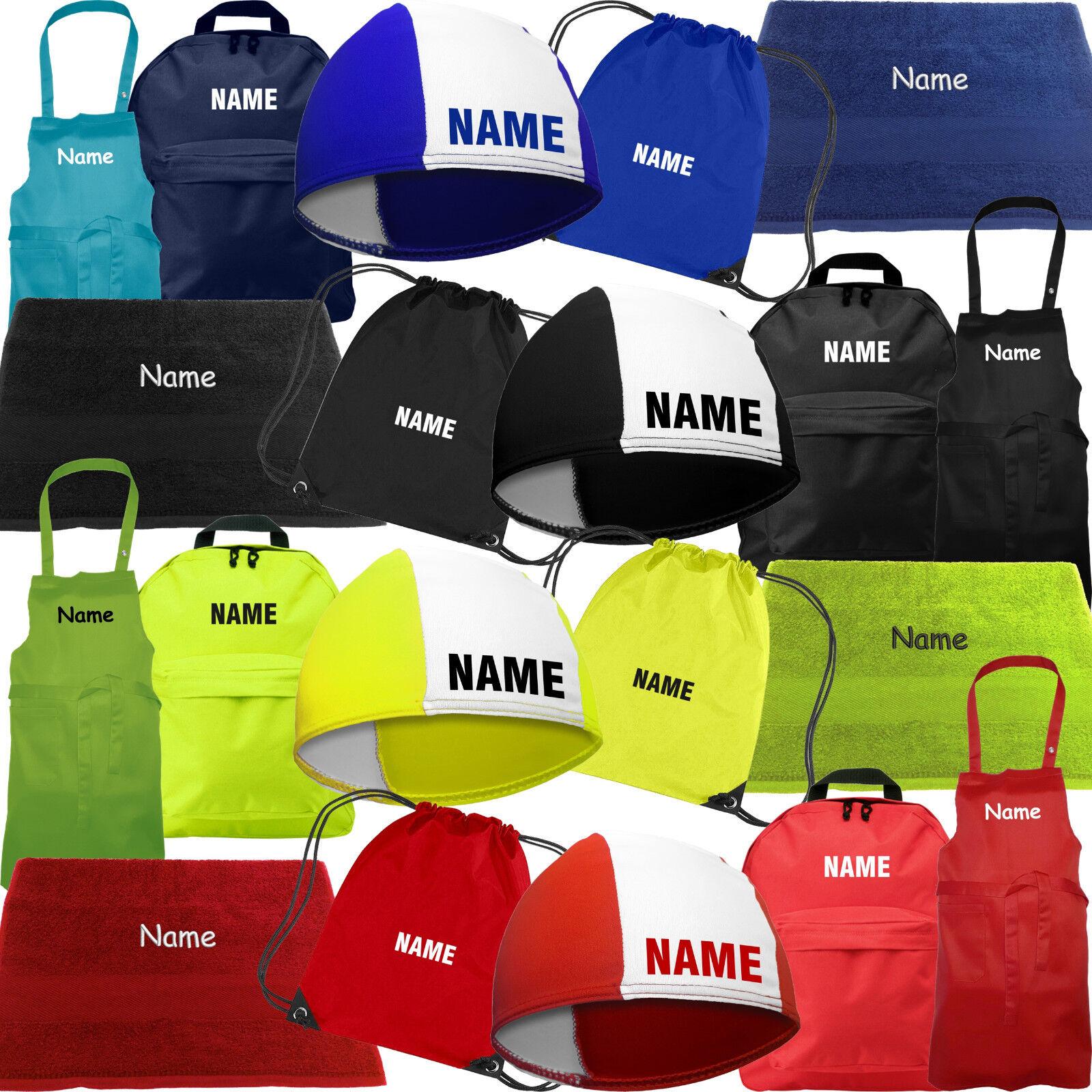 Fashy Badekappe Handtuch Rucksack Schürze mit Namen zum Schulanfang Einschulung