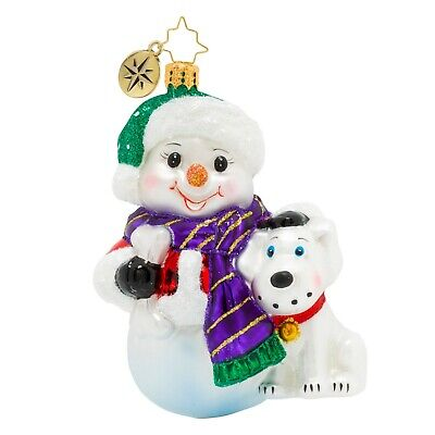 [NEW Christopher Radko GIVE A DOG A BONE SNOWMAN Christmas Ornament 1020343</Title]