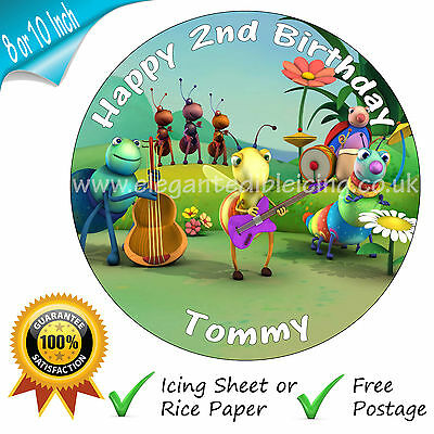 AY CAKE TOPPER EDIBLE PERSONALISED BABY TV PARTY CAKE TOPPER (Big Bugs Band)