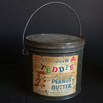 Antique Vintage Tin with Paper Label Advertising Teddie Peanut Butter
