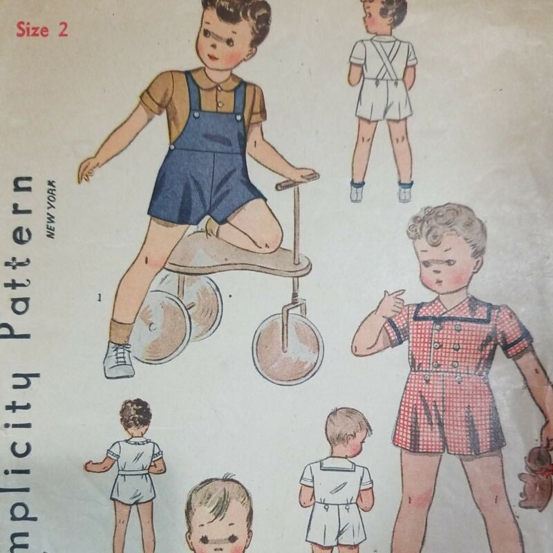 Vintage 1940s Simplicity #3291 Sewing Pattern Childs Overall Romper UNUSED