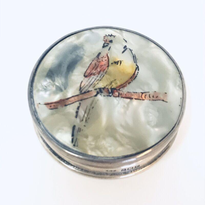English E. Edmonds 1929 Sterling Silver Painted Bakelite Bird Compact Box