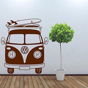 Vw camper wall sticker campervan wall art sticker ebay for Campervan wall mural