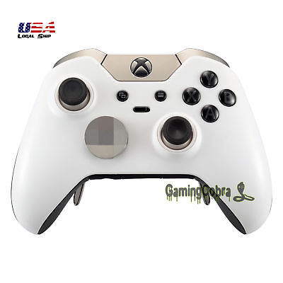 Solid White Faceplate Cover for Xbox One Elite Game Controller with Accent Rings White Faceplate Cover