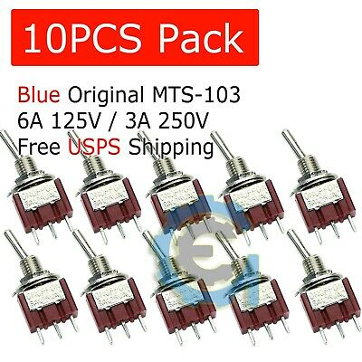 10 Pcs Mts-103 Latch Mini Toggle Switch 125vac 6a On-off-on 3 Positions Spdt M64