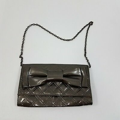 Zara Purse Bow Quilted Clutch Gray Faux Patent Leather Chain Clutch Shoulder