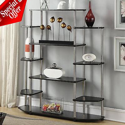 - Storage Cabinet Black Bookcase Bookshelf Wall Living Room Wood Steel Display