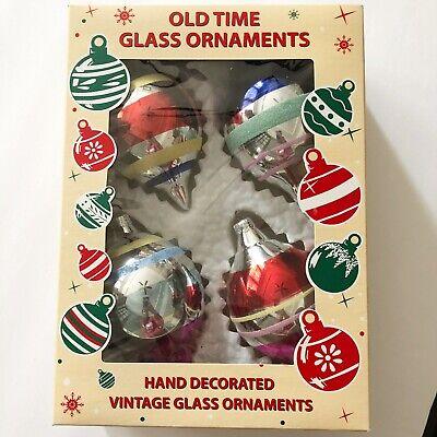 "VINTAGE STYLE STRIPED MERCURY GLASS TEARDROP CHRISTMAS ORNAMENTS ROMANIA  4.5"" ()"