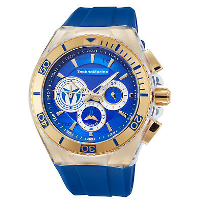 Technomarine TM-118125 Cruise Men's 46mm Chronograph Gold-Tone Blue Dial Watch