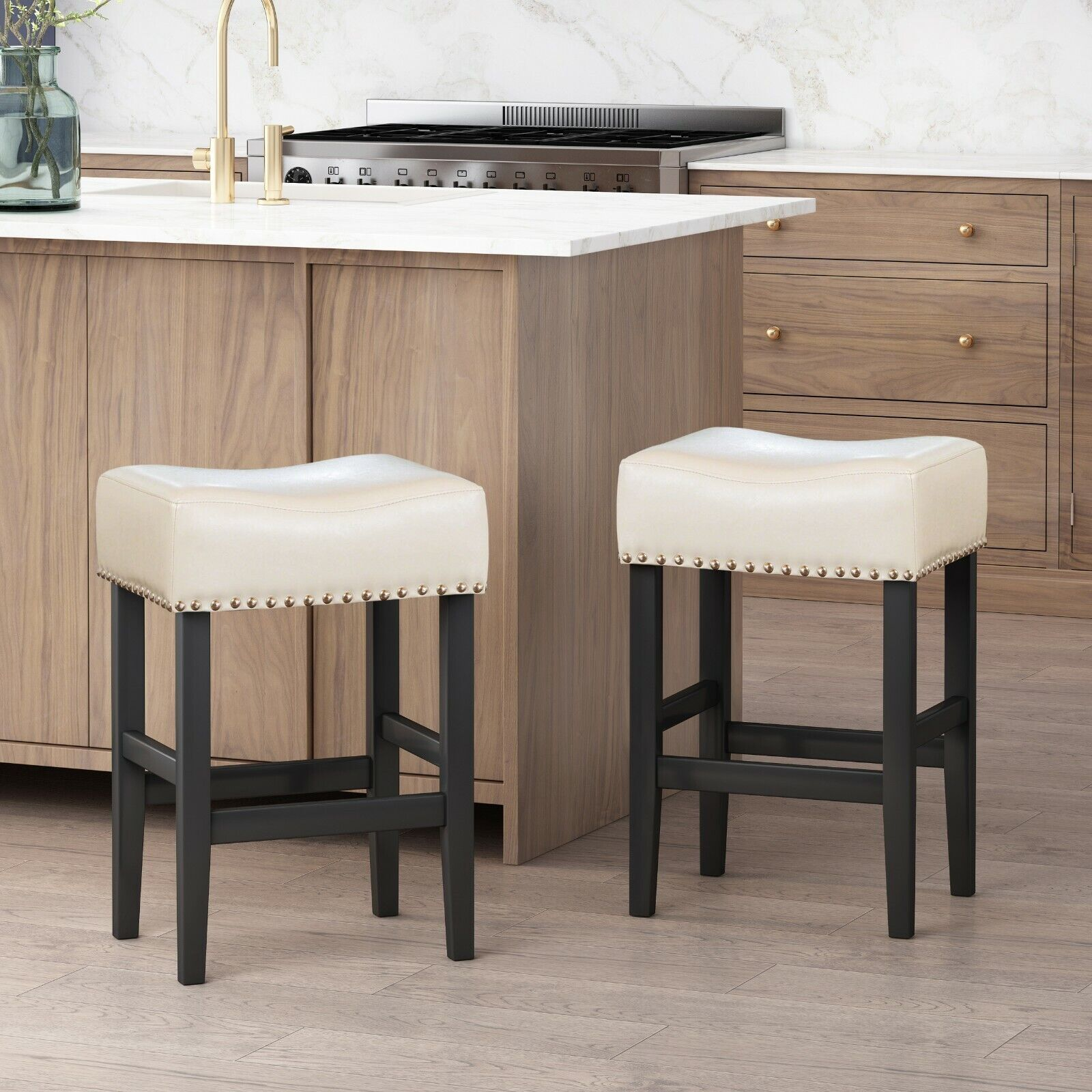 Chantal 26-Inch Ivory Leather Counter Stool (Set of 2) Benches, Stools & Bar Stools
