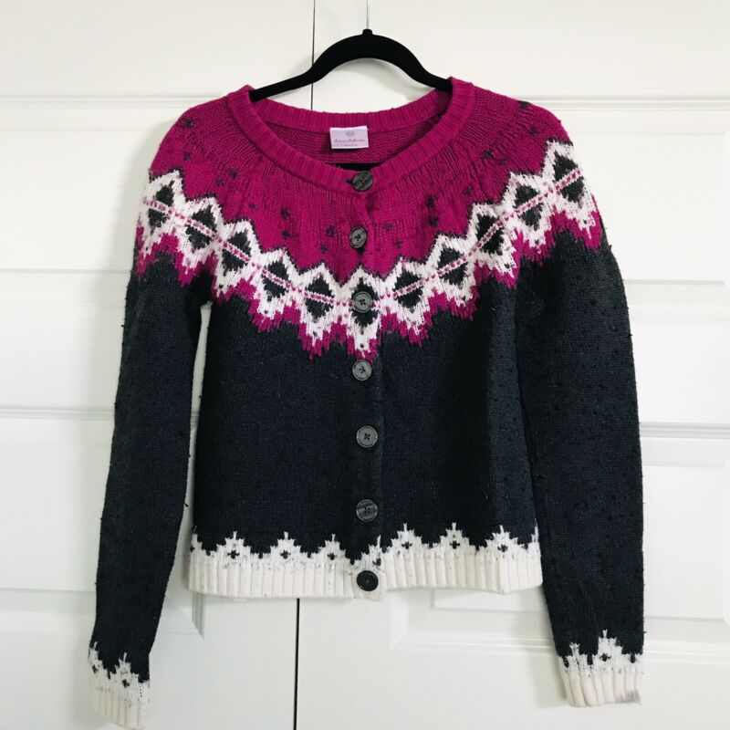 HANNA ANDERSSON Gray Pink Nordic Fair Isle Button Cardigan Sweater Girls 14-16
