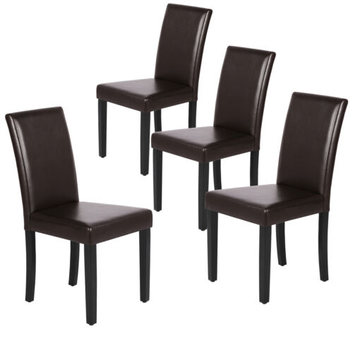 Leather Dining Room Chairs Padded Kitchen Chairs with Bigger Seat and Solid Wood