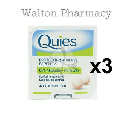 Quies Pure Natural Wax Ear Plugs Earplugs Protection noise reduction 8 pairs x 3 (Quies Ear Plugs)