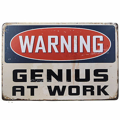 Warning Genius At Work Metal Tin Sign Funny Gift Novelty Office Bar Man Cave