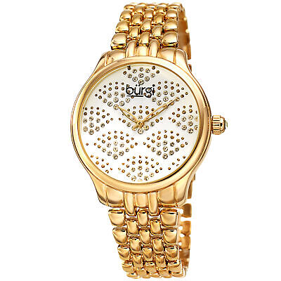 Women's Burgi BUR205YG Swarovski Crystal Gold Tone Stainless Steel Watch