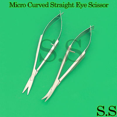 2 Pcs Micro Curved Straight Eye Scissor 4.5 Castroviejo Surgery Ophthalmic Tool