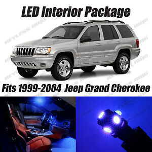 16 pcs led blue lights interior package kit for jeep grand cherokee 1999 2004. Black Bedroom Furniture Sets. Home Design Ideas