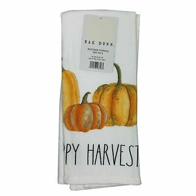 NWT Rae Dunn Kitchen Towels Holiday Fall Thanksgiving Set Of 2 Pumpkins Harvest