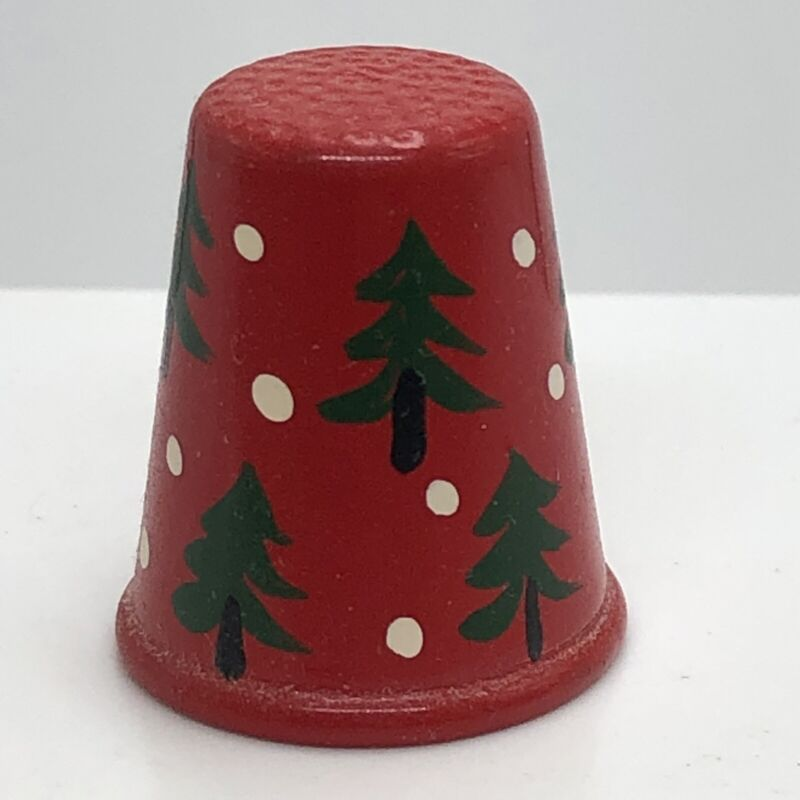 Red Christmas Trees & Snow Painted Brass Thimble