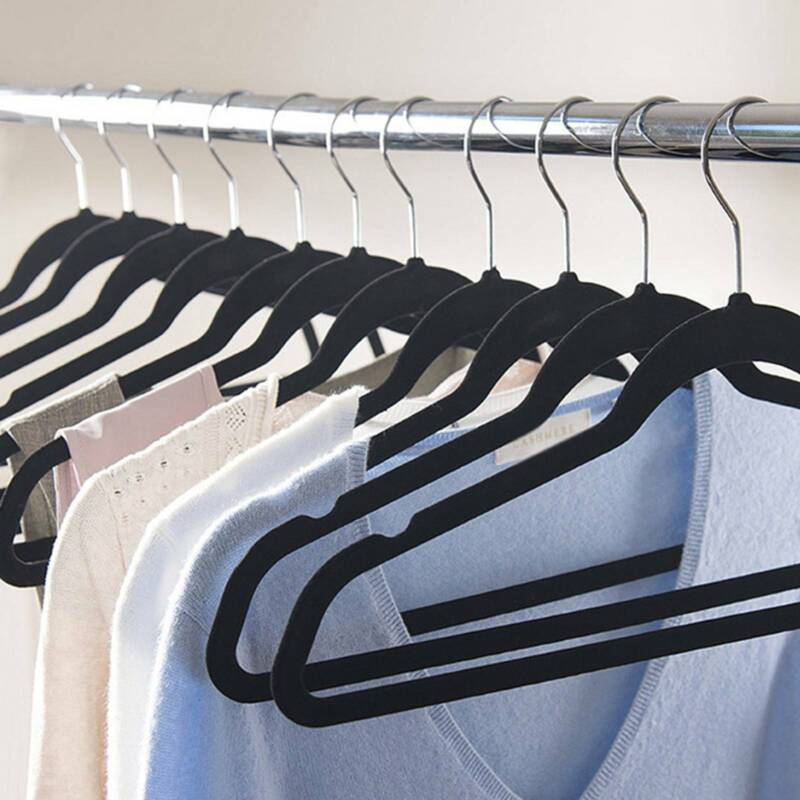 Non Slip Flocked Coat Clothes Hangers Velvet Trouser Shirts Hanging Space Saving