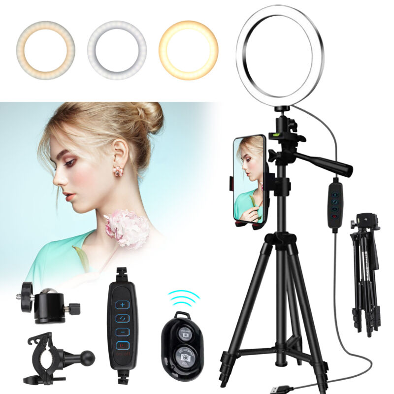 LED Ring Light With Stand For iPhone Selfie Makeup Video Live Stream Photography