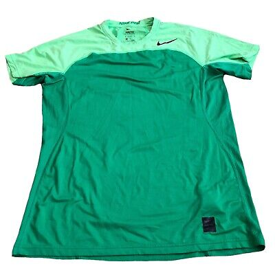 Nike Pro Mens Hypercool Dri-Fit Green Gym Running Top Size Large Fitted