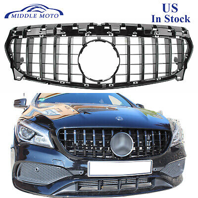 GT-R Black Front Grille For Mercedes Benz GLA-CLASS C117 CLA200 CLA250 17-19