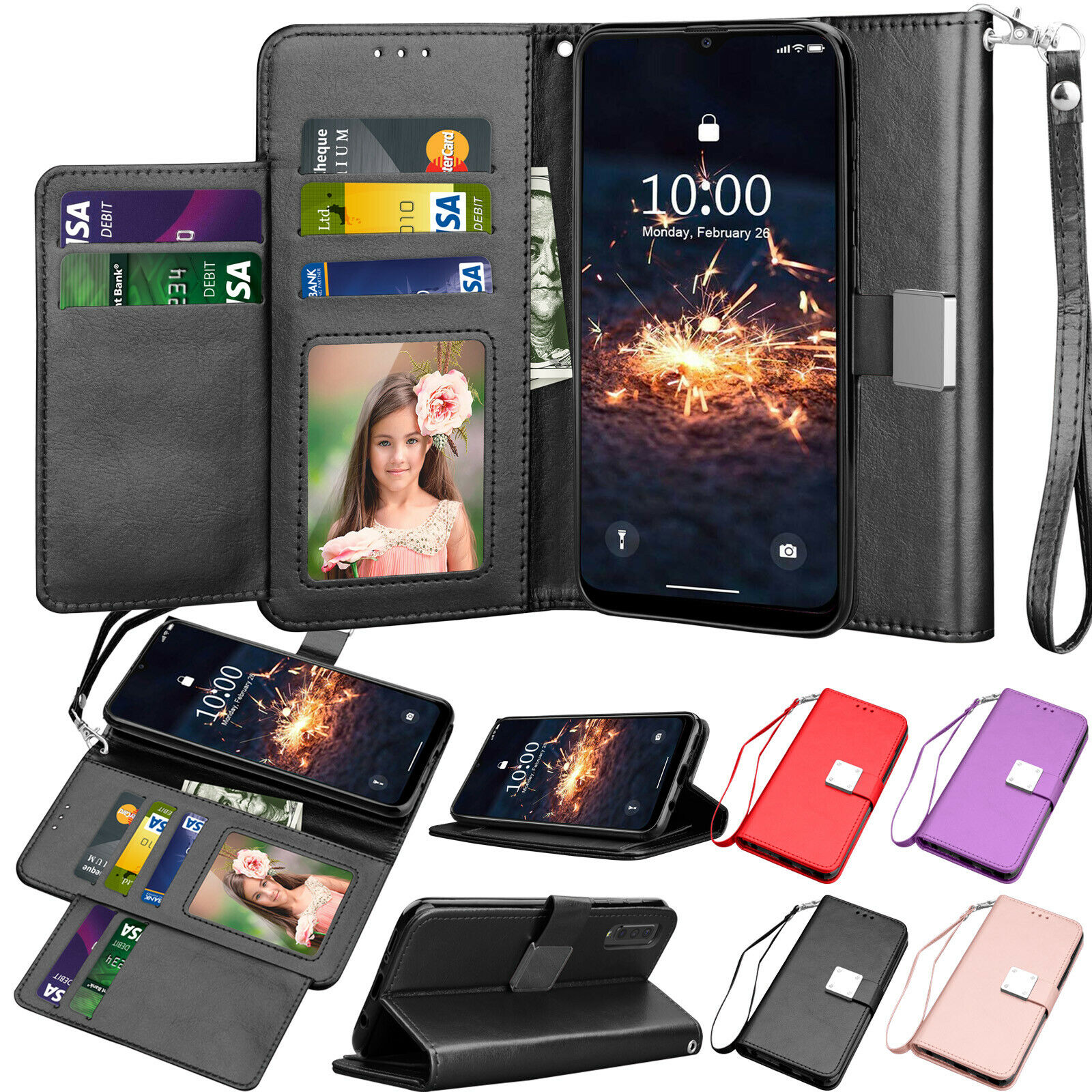 For Samsung Galaxy A50 A30 A20 A10e Case Leather Flip Wallet Magnetic Fold Cover Cases, Covers & Skins