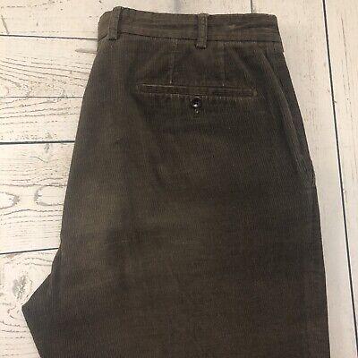 Incotex Men's W34 x L28 Brown Flat Front Straight Corduroy Pants